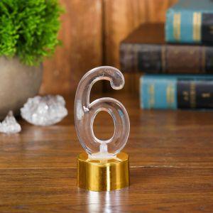 Свеча светодиодная «Цифра 6», цвет золотой