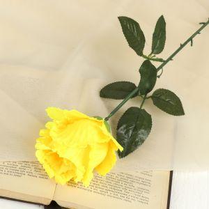 """Цветок искусственный """"Резная роза"""" жёлтая"""