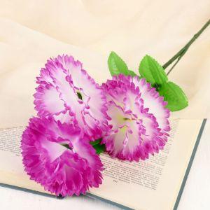 """Цветы искусственные """"Гвоздика трио"""" 11*58 см, бело-сиреневый   4560207"""