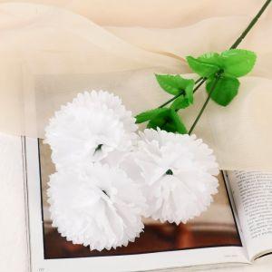 """Цветы искусственные """"Гвоздика трио"""" 11*58 см, белый   4560209"""