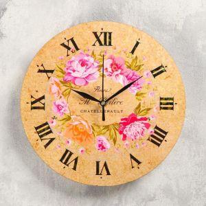 "Часы настенные ""Розы"", d-23.5. плавный ход 5234004"