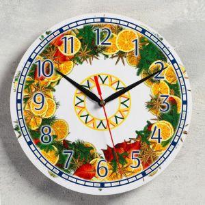 """Часы настенные, серия: Новый год, """"Апельсины"""", d=24 см, плавный ход 5307583"""