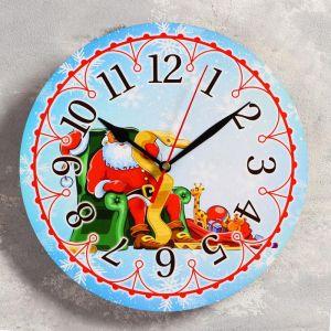 """Часы настенные, серия: Новый год, """"Дед мороз"""", d=24 см, плавный ход 5307582"""