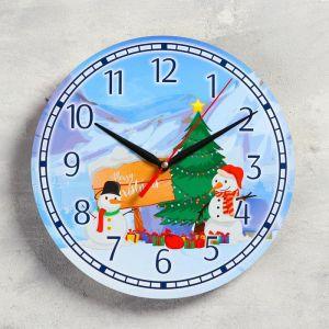 """Часы настенные, серия: Новый год, """"Подарки снеговиков"""", d=24 см, плавный ход 5307584"""