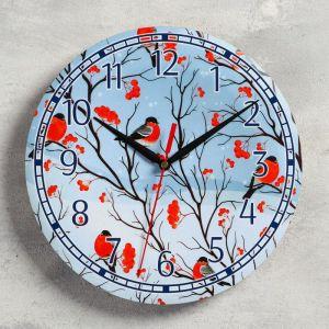 """Часы настенные, серия: Новый год, """"Снегири"""", d=24 см, плавный ход 5307581"""