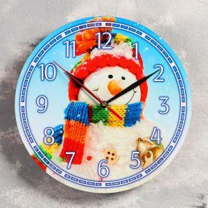 """Часы настенные, серия: Новый год, """"Снеговик"""", d=24 см, плавный ход 5307577"""