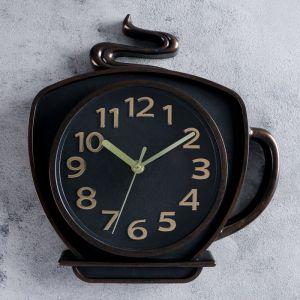 """Часы настенные, серия: Кухня, """"Кофейная кружка"""", коричневая,  26х24 см   4617787"""