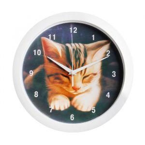 "Часы настенные ""Котёнок"", белый обод, 28х28 см, микс"