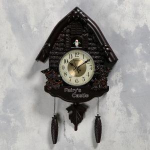 "Часы настенные с кукушкой ""Белочки"", 4 шт 3ААА, плавный ход, 53х7х35 см, чёрные   5183574"
