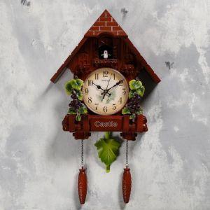 """Часы настенные с кукушкой """"Виноградная лоза"""", 2 шт 3 АА, 2 шт R14, плавный ход, 63х10х36 см   518358"""