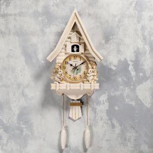 "Часы настенные с кукушкой ""Зайчики"", 2 шт 3 АА, 2 шт R14, плавный ход, 62х8х32 см   5183577"