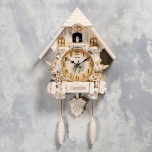 """Часы настенные с кукушкой """"Замок с птицами"""", 2 шт 3 АА, 2 шт R14, плавный ход, 63х8х32 см   5183580"""