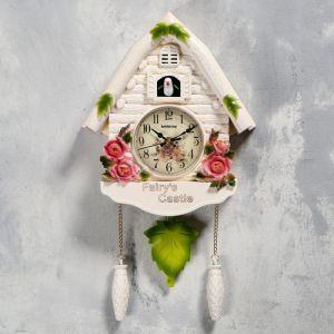"""Часы настенные с кукушкой """"Замок фей"""", 2 шт 3 АА, 2 шт R14, плавный ход, 44х6х26 см   5183582"""