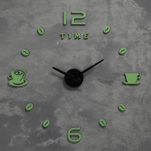Часы-наклейка светящиеся, стрелки 22,5см, 16.5 см, 1АА, плавный ход   5200581