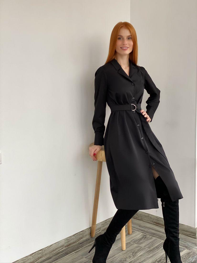 s2767 Платье на пуговичках с английским воротником чёрное