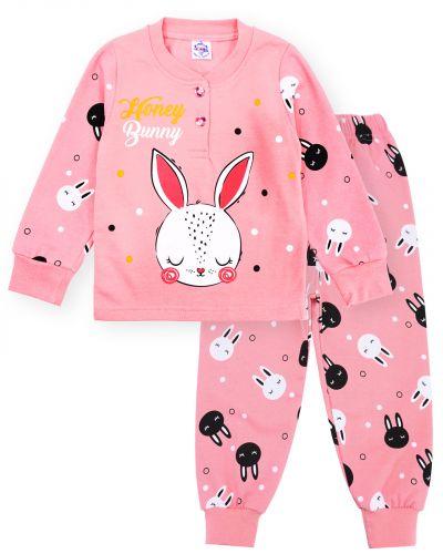Пижама с начесом, для девочек 2-6 лет BK1251D розовая
