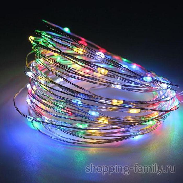Светодиодная гирлянда на батарейках Нить 30 led огней, 3 м, Цвет Разноцветный