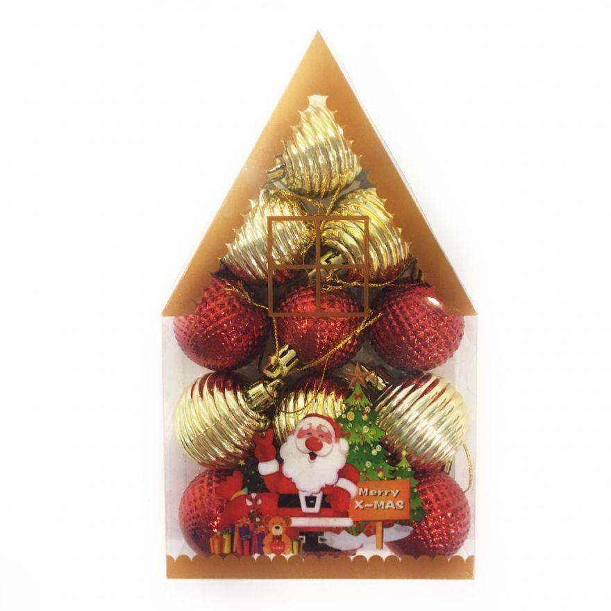 Набор новогодних елочных украшений Merry X-Mas, 12 шт (Диаметр шаров - 5 см)