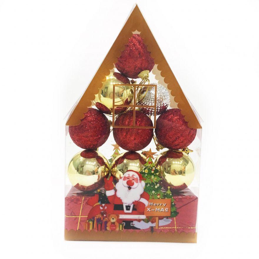 Набор новогодних елочных украшений Merry X-Mas, 12 шт (Диаметр шаров - 4 см)