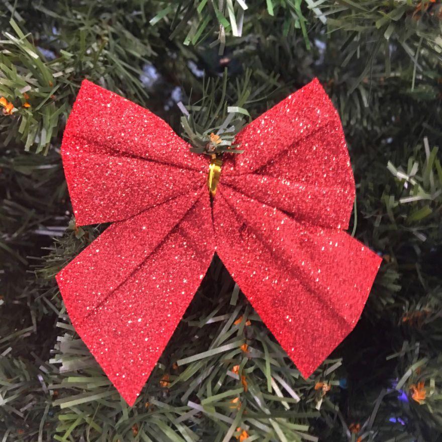 Новогоднее украшение Блестящие бантики, 3 шт
