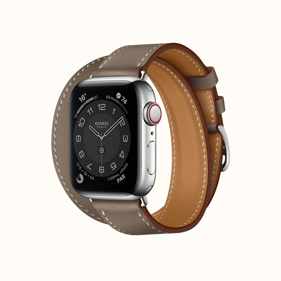 Часы Apple Watch Hermès Series 6 GPS + Cellular 40mm Silver Stainless Steel Case with Étoupe Swift Leather Double Tour