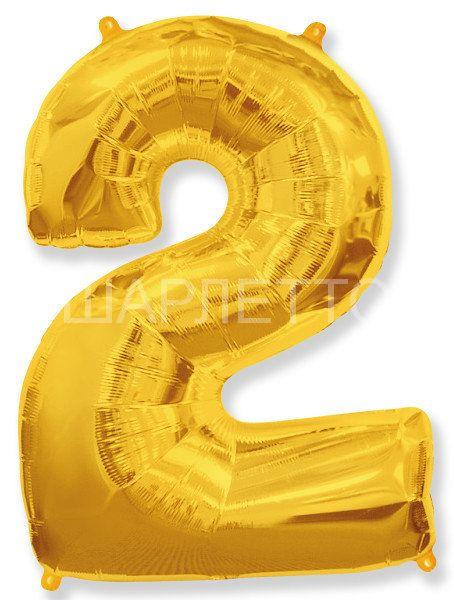 """Цифра """"2"""" золото"""