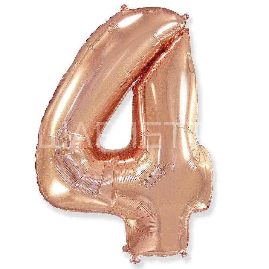 """Цифра """"4"""" розовое золото"""