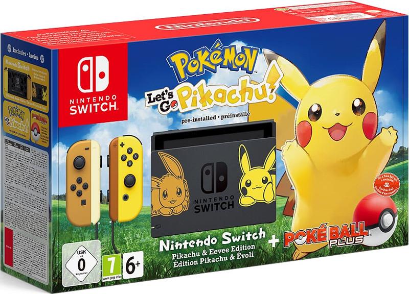 Игровая приставка Nintendo Switch (желтый / бежевый) + Pokemon: Let's Go, Pikachu!