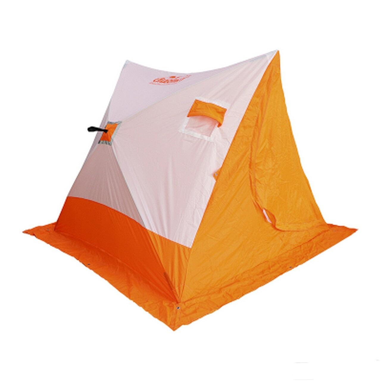 Палатка зимняя 2-скатная СЛЕДОПЫТ, цв. бело-оранж.