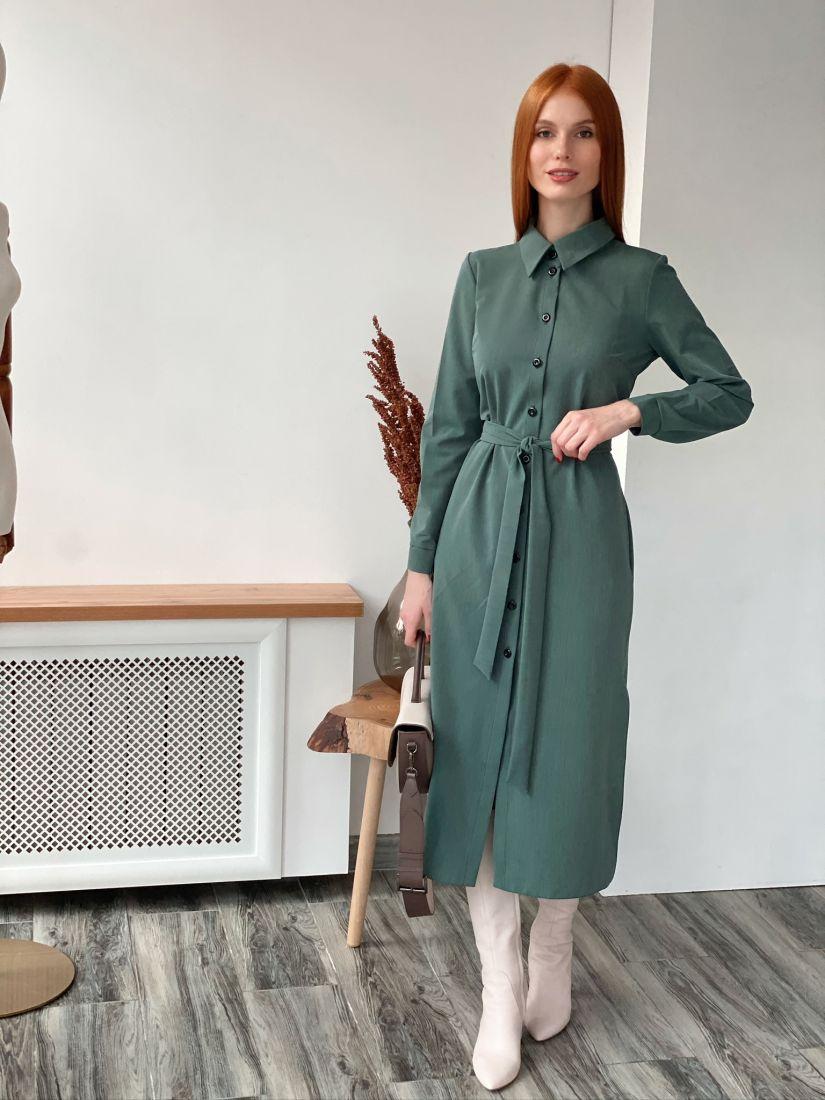 s2884 Платье-рубашка в малахитовом зелёном