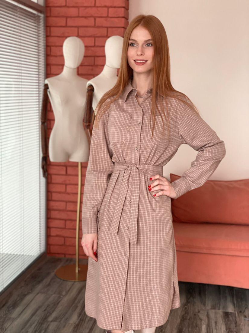 s2897 Платье-рубашка в клетку кофейное