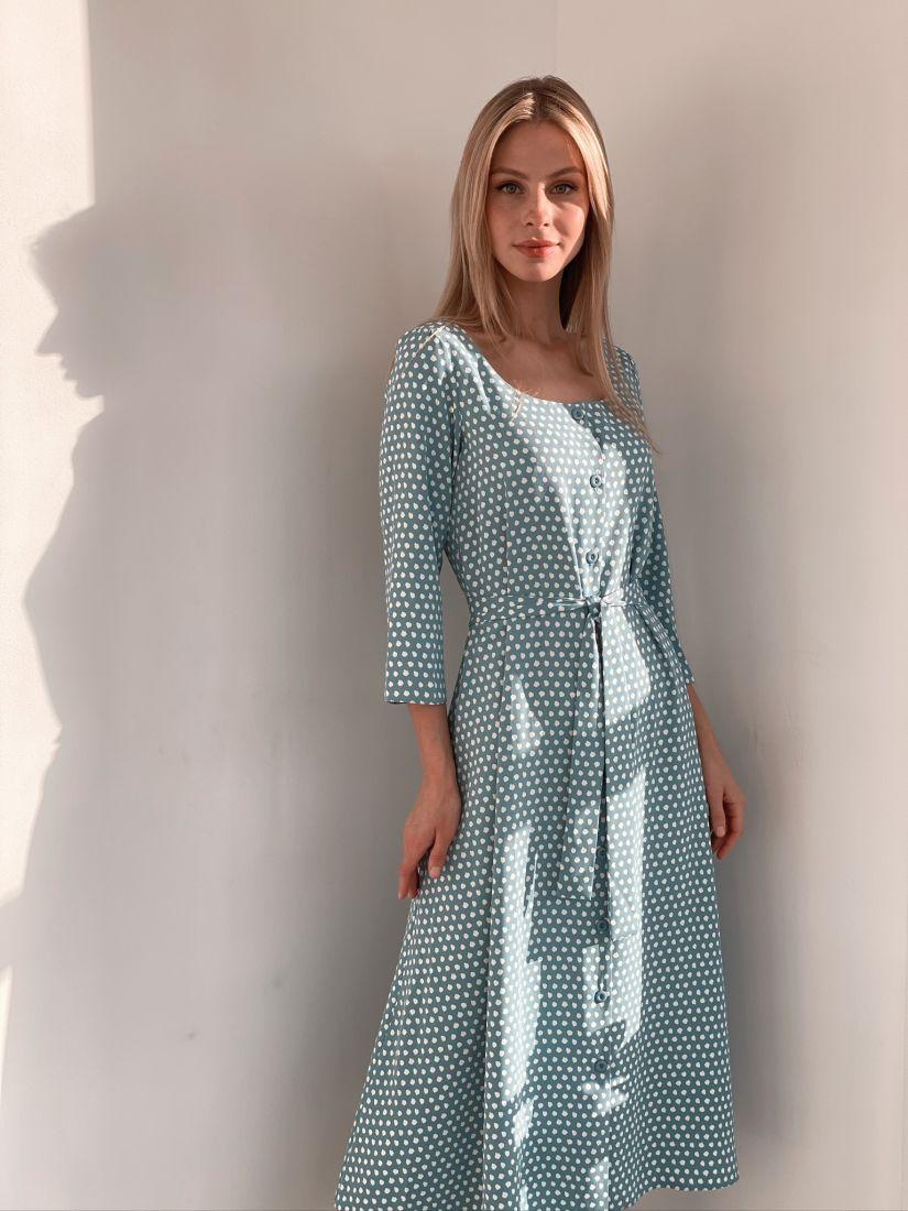s2904 Платье на пуговичках голубое в горох