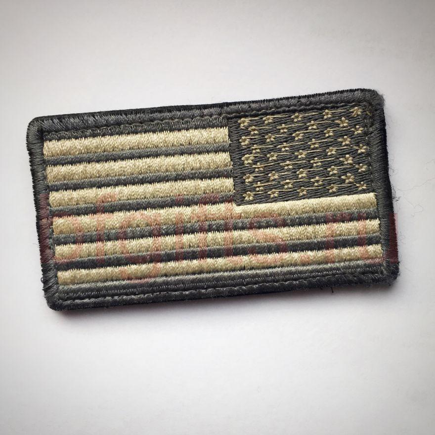 Флаг США приглушенный серый зеркальный