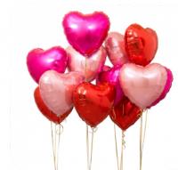 Композиция из воздушных шаров «Ассорти сердец»