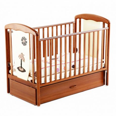 Детская кроватка VITALIA 125/65 МАЯТНИК Орех-слоновая кость