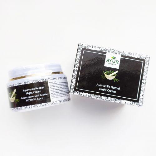 Аюрведический травяной крем Ночной | Ayurvedic Herbal Night Cream | 30 г | AyurGanga