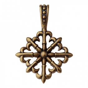 Оберег Крест с лилиями, латунь
