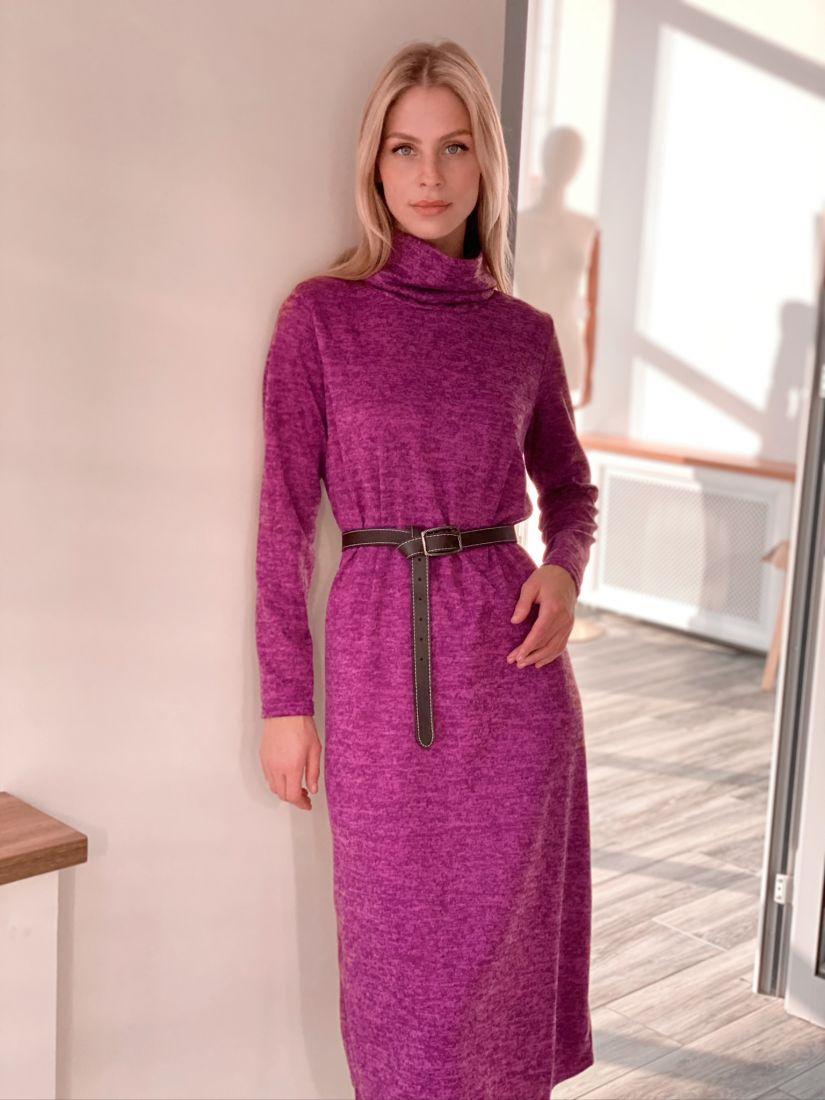 s2919 Платье-свитер сливовое