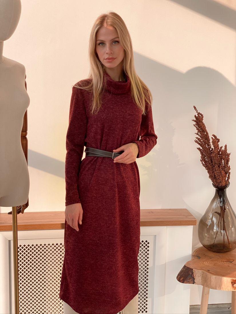 """s2920 Платье-свитер в цвете """"марсала"""""""