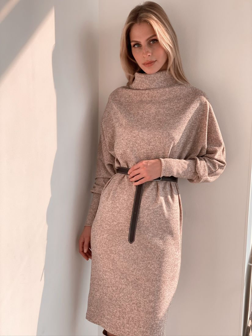 "s2933 Платье ""оверсайз"" в серо-розовом"