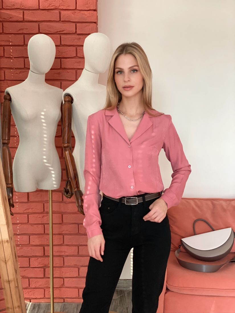 s2937 Блуза с английским воротником розовая