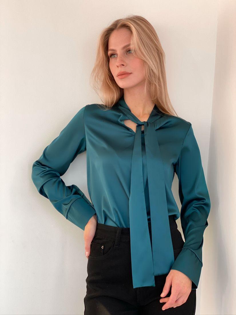 s2940 Блуза с завязками сине-зелёная