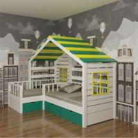Кровать Домик угловой Fairy Land №27 (для двоих детей), любые размеры