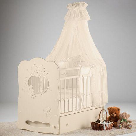 Кроватка детская Птенчики маятник поперечный с ящ
