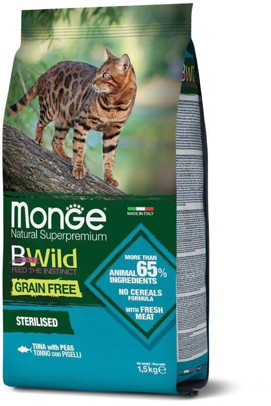 Monge Cat BWild GRAIN FREE беззерновой корм из тунца и гороха для взрослых кошек