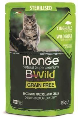 Monge Cat BWild Grain Free паучи из мяса кабана с овощами (зеленая фасоль и морковь) для стерилизованных кошек