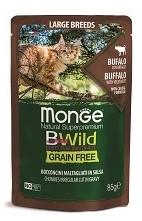 Monge Cat BWild Grain Free паучи из мяса буйвола с овощами (зеленая фасоль и морковь) для кошек крупных пород