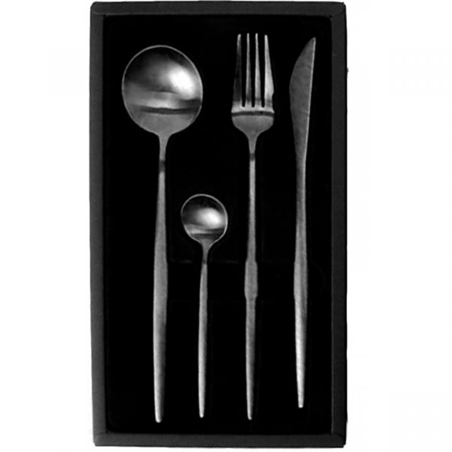 Набор из 4-х столовых приборов Xiaomi Maison Maxx Stainless Steel Modern Flatware Set Black