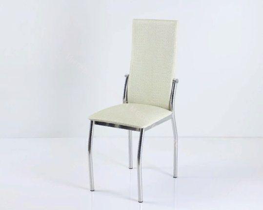 """Кухонный стул """"B-610"""" бело-золотой крокодил/хром"""