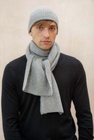 Кашемировая ребристая  мягкая шапка , крупная вязка, светло-серый цвет RIBBED CASHMERE HAT LIGHT GREY